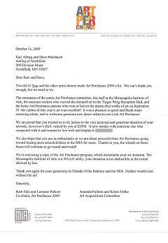2009 Art Perchance thank you letter